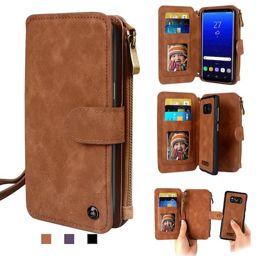 9. Galaxy Note 8 Case, Cornmi Leather Wallet Case 14 Card Slot Wristlet / Shoulder Strap Flip Stand Zipper Purse Detachable Magnetic Case for Samsung Galaxy Note 8 (Brown)