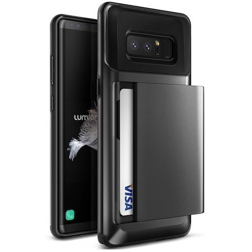 7. Galaxy Note 8 Case, (Osprey - Black Metallic) Slim Card Slot Protective Cover (Rugged Tough Heavy Duty Armor Defender) Wallet Card ID Slot Bumper for Samsung Phone Mobile Accessories - 2017 by Lumion
