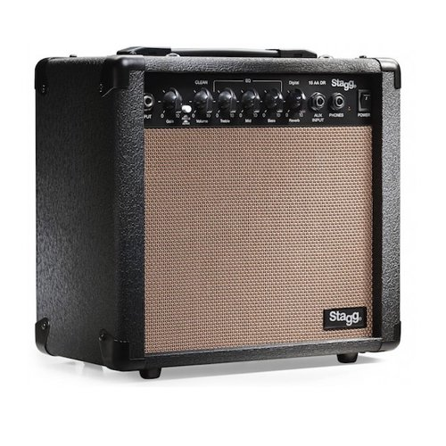 2. Stagg 15 AA DR USA 15-Watt Acoustic Guitar Amplifier with Digital Reverb