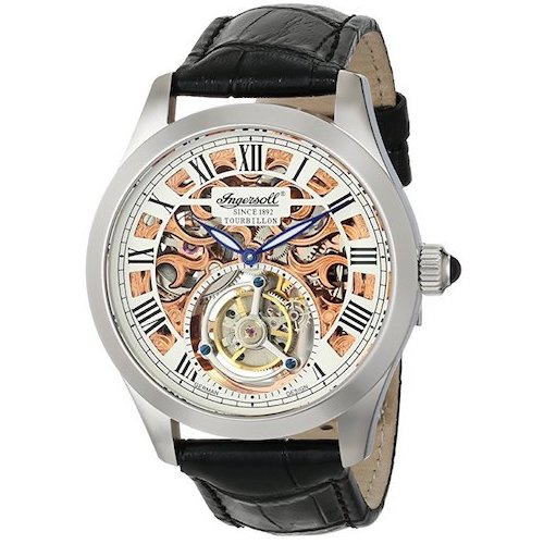 5. Ingersoll Men's IN5102SRG Golden Spike Tourbillon Analog Display Mechanical Hand Wind Black Watch