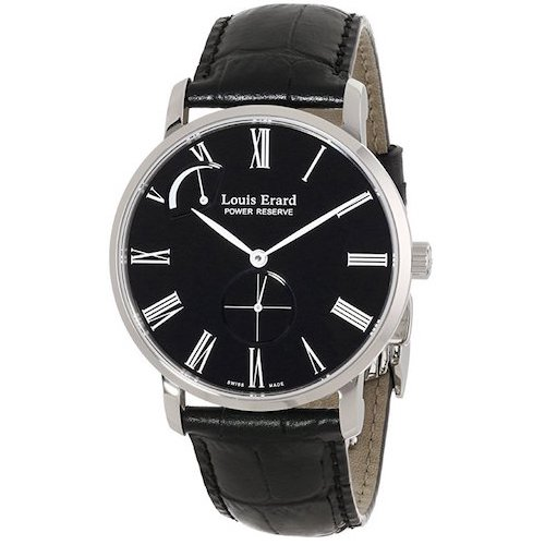 6. Louis Erard Men's 53230AA.BDC29 Excellence Analog Display Mechanical Hand Wind Black Watch