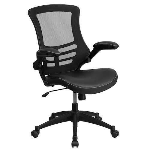 5. Flash Furniture Mid-Back Black Mesh Swivel Task Chair with Leather Seat and Flip-Up Arms