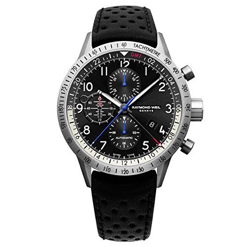 9. Raymond Weil Men's 'Freelancer' Swiss Automatic Stainless Steel and Leather Casual Watch, Color:Black (Model: 7754-TIC-05209)