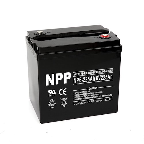 1. NPP 6V 225 Amp NP6 225Ah AGM Deep Cycle Battery Camper Golf Cart RV Boat Solar Wind Power