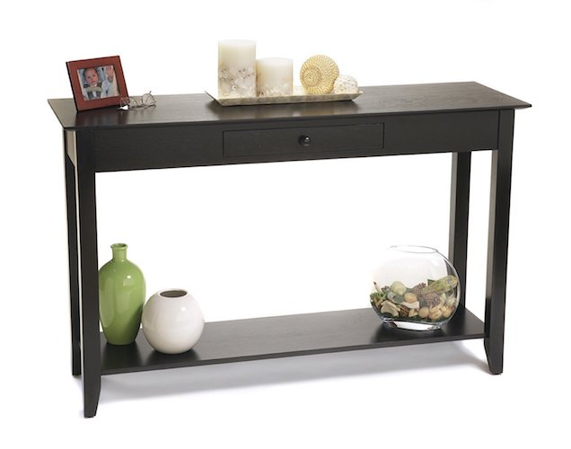 2. Convenience Concepts American Heritage Console Table with Drawer and Shelf, Black