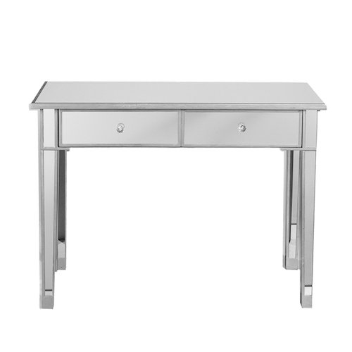 4. Southern Enterprises Mirage Mirrored 2 Drawer Media Console Table, Matte Silver Finish with Faux Crystal Knobs