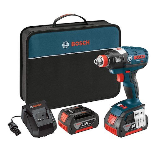 5. Bosch IDH182-01 18V Brushless Socket Ready Impact Driver with 2 Batteries, Charger and Case
