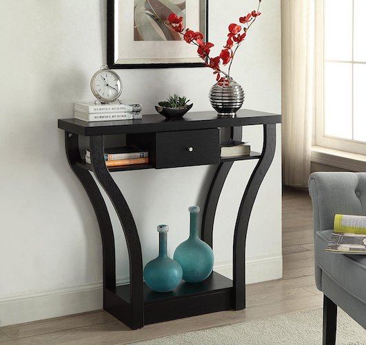 10. Black Finish Curved Console Sofa Entry Hall Table with Shelf / Drawer