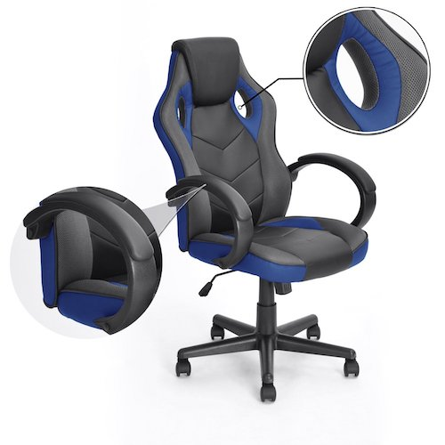 3. Gaming Chair Racing Chair Workstation Computer chair, Coavas Office High Back PU Leather Computer Chair Executive Swivel Task Desk Chair( Black+ blue)