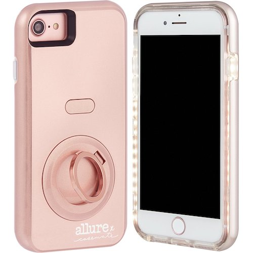 9. Case-Mate iPhone 7 Case - Allure Selfie - LED Selfie Light Illuminated Cell Phone Case - Rose Gold (Compatible with iPhone 6/6S )