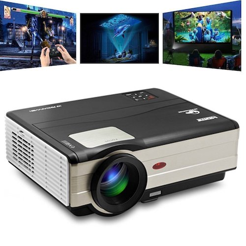 7. CAIWEI HD Projectors Portable Movie Projector 1080p Support, 3500 Luminous Efficiency 200 inch, Video Projector Full HD 1280x800, Dual HDMI USB Home Theater Projector for Laptop iPhone Smartphone Mac with speaker