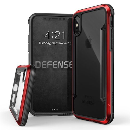 3. iPhone X Case, X-Doria Defense Shield Series - Military Grade Drop Tested, Anodized Aluminum, TPU, and Polycarbonate Protective Case for Apple iPhone X, [Red]
