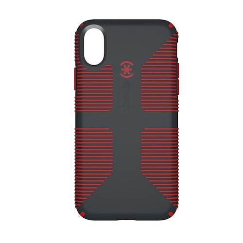 2. Speck Products CandyShell Grip Cell Phone Case for iPhone X - Charcoal Grey/Dark Poppy Red