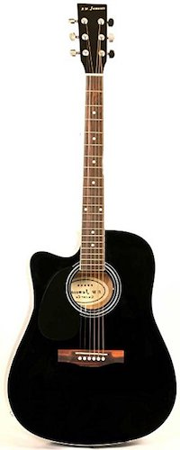 10. Jameson Guitars Left Handed Black Acoustic Electric