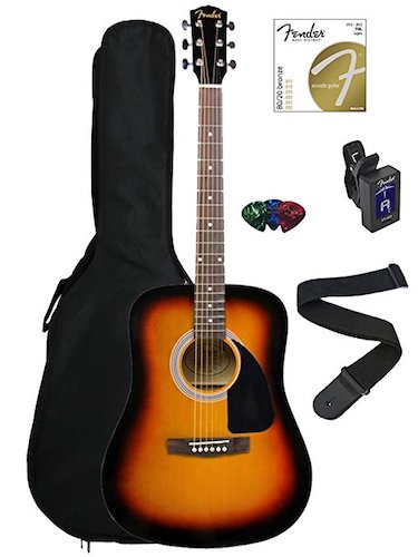 3. Fender FA-100 Dreadnought Acoustic Guitar Bundle