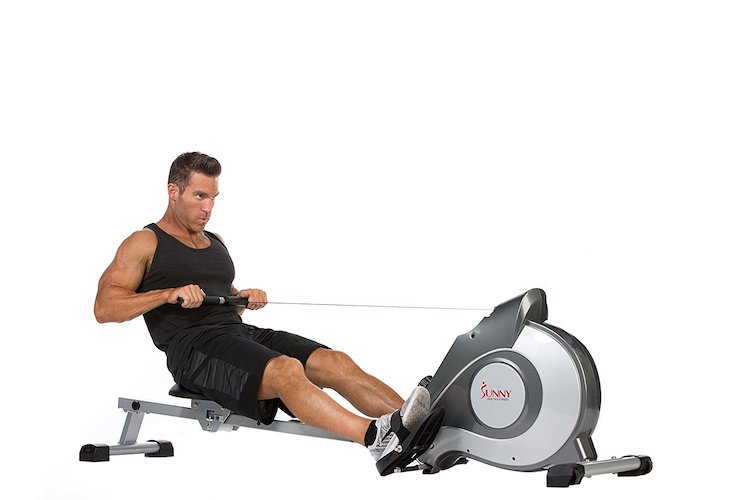 1. Sunny Health & Fitness SF-RW5515 Magnetic Rowing Machine Rower w/ LCD Monitor