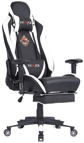 10: Ficmax Ergonomic High-back Large Size Office Desk Chair Swivel Black PC Gaming Chair with Lumbar Massage Support and Retractible Footrest