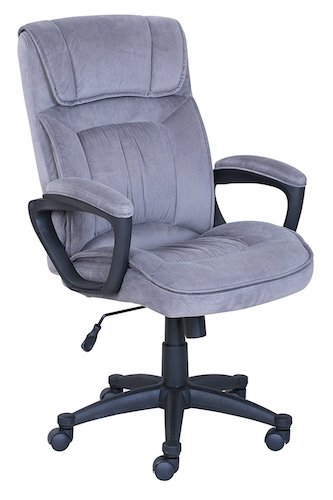 9. Serta Executive Office Chair in Velvet Gray Microfiber, Black Base