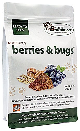 9. Exotic Nutrition Berries & Bugs 1 lb - Insectivore Diet for Hedgehogs, Sugar Gliders, Skunks, Opossums