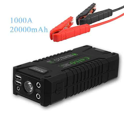 4. CATUO1000A Peak 20000mAh Portable Car Jump Starter With Smart Jumper Cables, Auto Battery Booster Power Pack Phone Power Bank With Smart Charging Ports