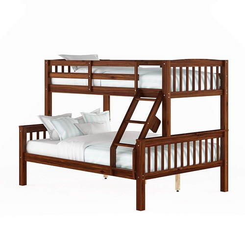 7. CorLiving Twin over Full Bunk Bed in Walnut Brown