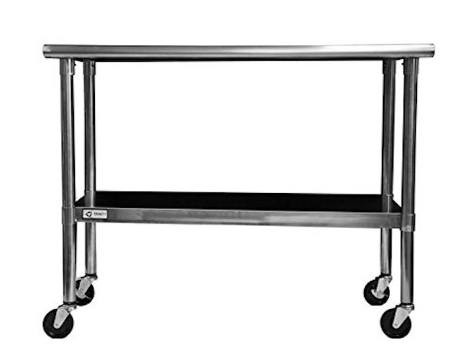 7. TRINITY EcoStorage NSF Stainless Steel Table with Wheels, 48-Inch