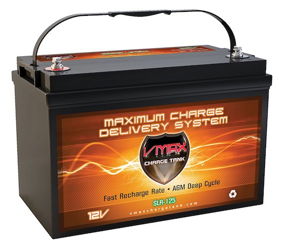 2. Vmaxtanks Vmaxslr125 AGM Deep Cycle 12v 125ah SLA rechargeable Battery for Use with Pv Solar Panels, Smart chargers wind Turbine and Inverters