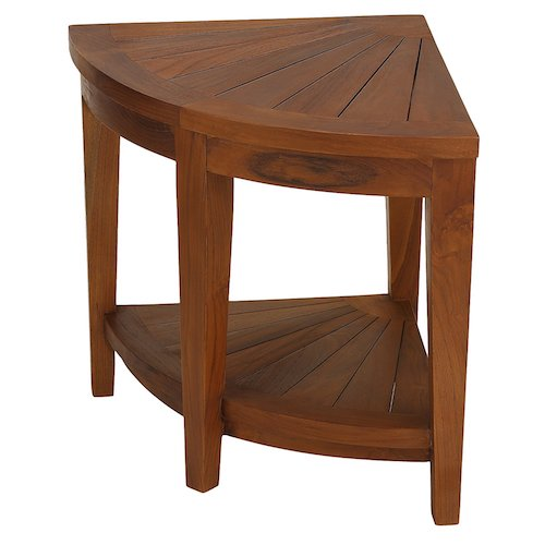 10. Bare Decor Hanna Corner Spa Stool in Solid Teak Wood, Corner, Teak Oil
