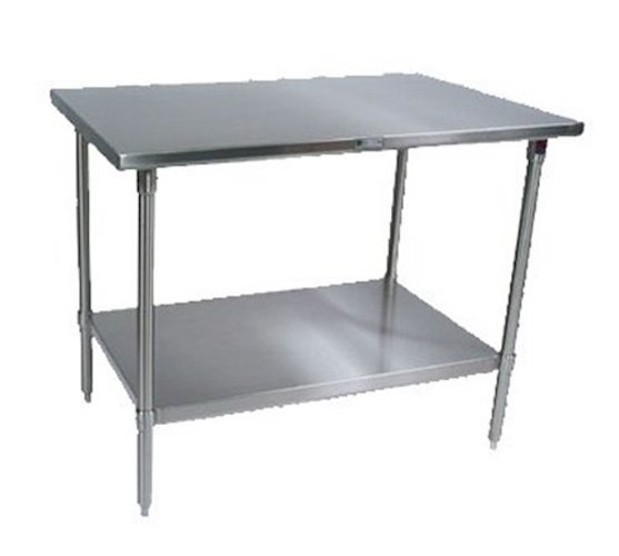 6. John Boos ST6-2430SSK Stainless Steel Stallion Work Table with Lower Shelf, Adjustable Legs, Flat Top, 30