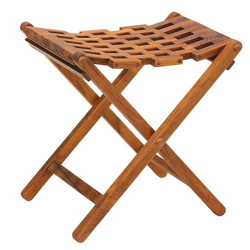4. Bare Decor Mosaic Folding Stool in Solid Teak Wood