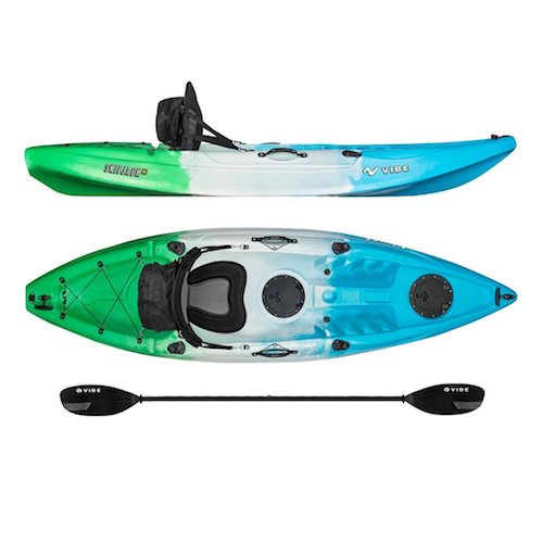 4. Vibe Kayaks Skipjack 90 9-foot Angler Sit On Top Fishing Kayak with Paddle and Deluxe Kayak Seat