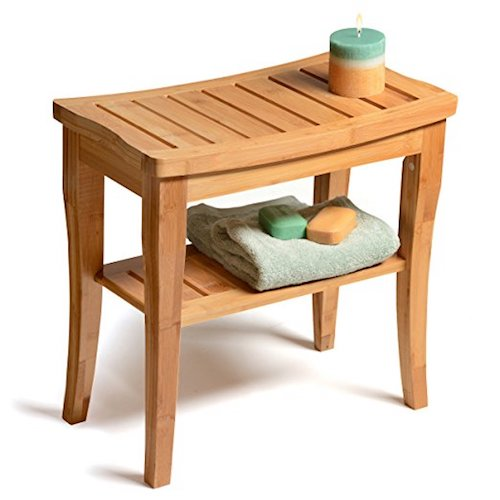 3. Bambüsi by Belmint Deluxe Bamboo Shower Seat Bench with Storage Shelf.