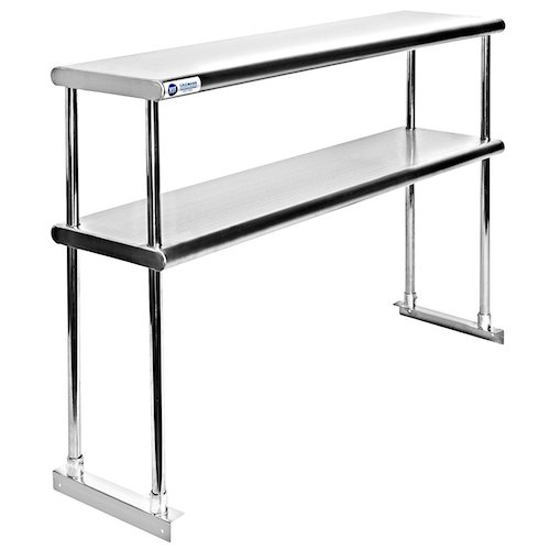 2. Gridmann NSF Stainless Steel Commercial Kitchen Prep & Work Table 2 Tier Double Overshelf - 48 in. x 12 in.