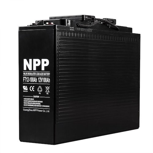 9. NPP 12V 100 Amp FT12 100Ah Front Access Telecom Deep Cycle AGM Battery With Button Style Terminals