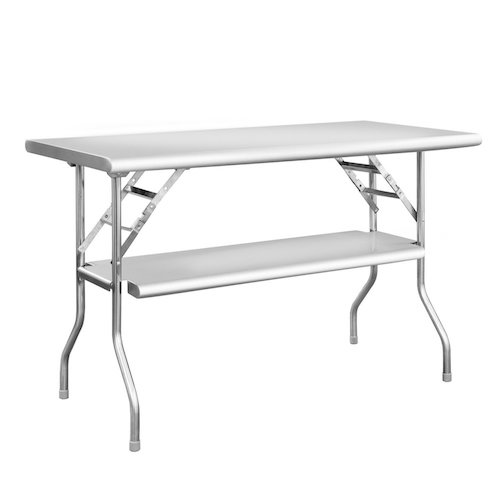 4. Royal Gourmet Commercial Stainless Steel Double-Shelf Folding Work Table, 48