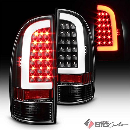 2. 2005-2015 Tacoma Black Housing Fiber-Optic Light-Tube LED Tail Lights Pair L+R 2006 2007 2008 2009 2010 2011 2012