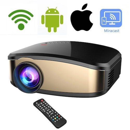 4. Wireless WiFi Video Projector DIWUER Full HD 1080P 1200 Lumens LED Home Cinema Movie Projector With HDMI/USB/VGA/AV Input for iPhone Android Phone PC Laptop