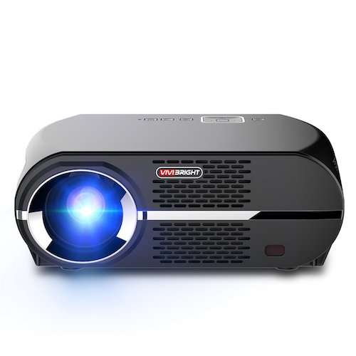 6. VIVIBRIGHT GP100 Video Projector, LCD 1080P Full-HD Level Image Quality,3500 Lumens LED Luminous Efficiency, WXGA Resolution, In Your Living Room Bedroom Meet All Entertainment, Games, Video Viewing