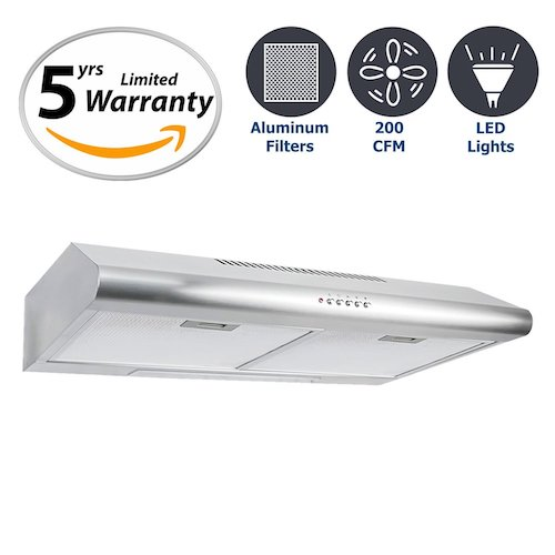 5. Cosmo 30 in. 200 CFM Ducted Under Cabinet Stainless Steel Range Hood