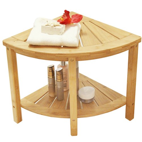 5. Corner Shower Bench with 2-Tier Storage Shelf,Deluxe Bamboo Shower Bench Bath Stool Applicable to Bathroom or Living Room Natural and Eco-friendly,By Artmeer