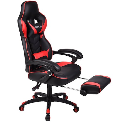 2. Elecwish - Ergonomic Computer Gaming Chair, Large Size PU Leather High Back Office Racing Chairs with Widen Thicken Seat and Retractable Footrest and Lumbar Support