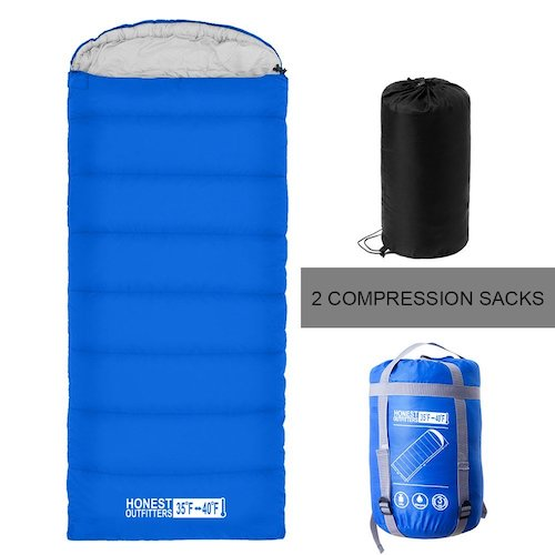 2. Honest sleeping bag with two sacks portable lightweight for 3-4 seasons traveling,camping,backpacking,hiking with interior pocket(Single)