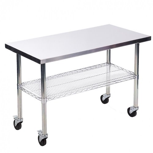 3. Stainless Steel Kitchen Work Table w/ Wire Lower Shelf and Wheels 24