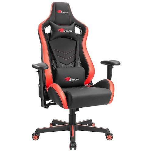 8. Homall Gaming Chair Premium PU Leather Bucket Seat Computer Swivel Lumbar Support Executive Office Chair (Black/red)