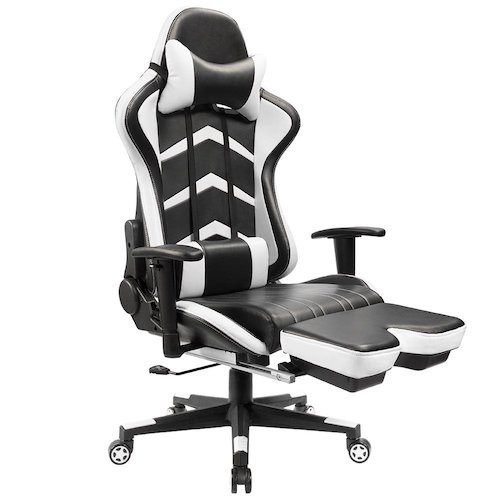 1. Furmax Gaming Chair High Back Racing Chair, Ergonomic Swivel Computer Chair Executive PU Leather Desk Chair With Footrest, Bucket Seat and Lumbar Support