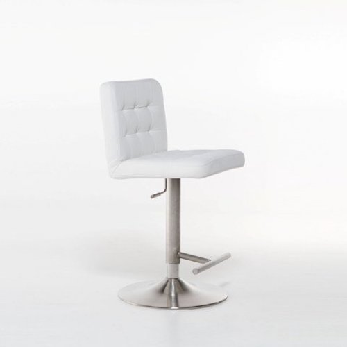 1. MIX Brushed Stainless Steel Faux Leather White Adjustable Height Swivel Bar Stool