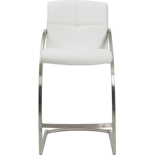 3. MIX Brushed Stainless Steel Faux Leather White 26-inch Seat Height Stationary Bar Stool