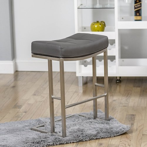 4. MIX Brushed Stainless Steel Faux Leather Grey 26-inch Seat Height Stationary Saddle Bar Stool