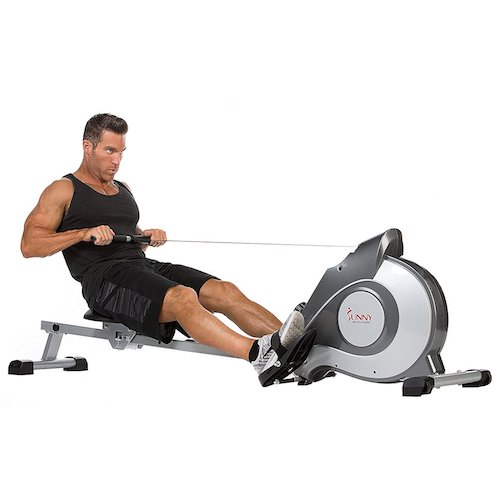 2. Sunny Health & Fitness SF-RW5515 Magnetic Rowing Machine Rower w/ LCD Monitor