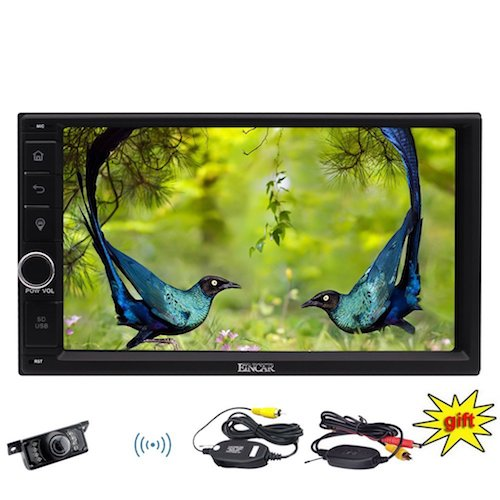 10. EinCar - 7 inch Double Din Stereo in Dash Capacitive Multi-touchscreen Car Headunits Windows CE GPS Sat Nav with LCD Screen Monitor Car Player Support Bluetooth/USB/SD/FM/AM RDS Radio Camera